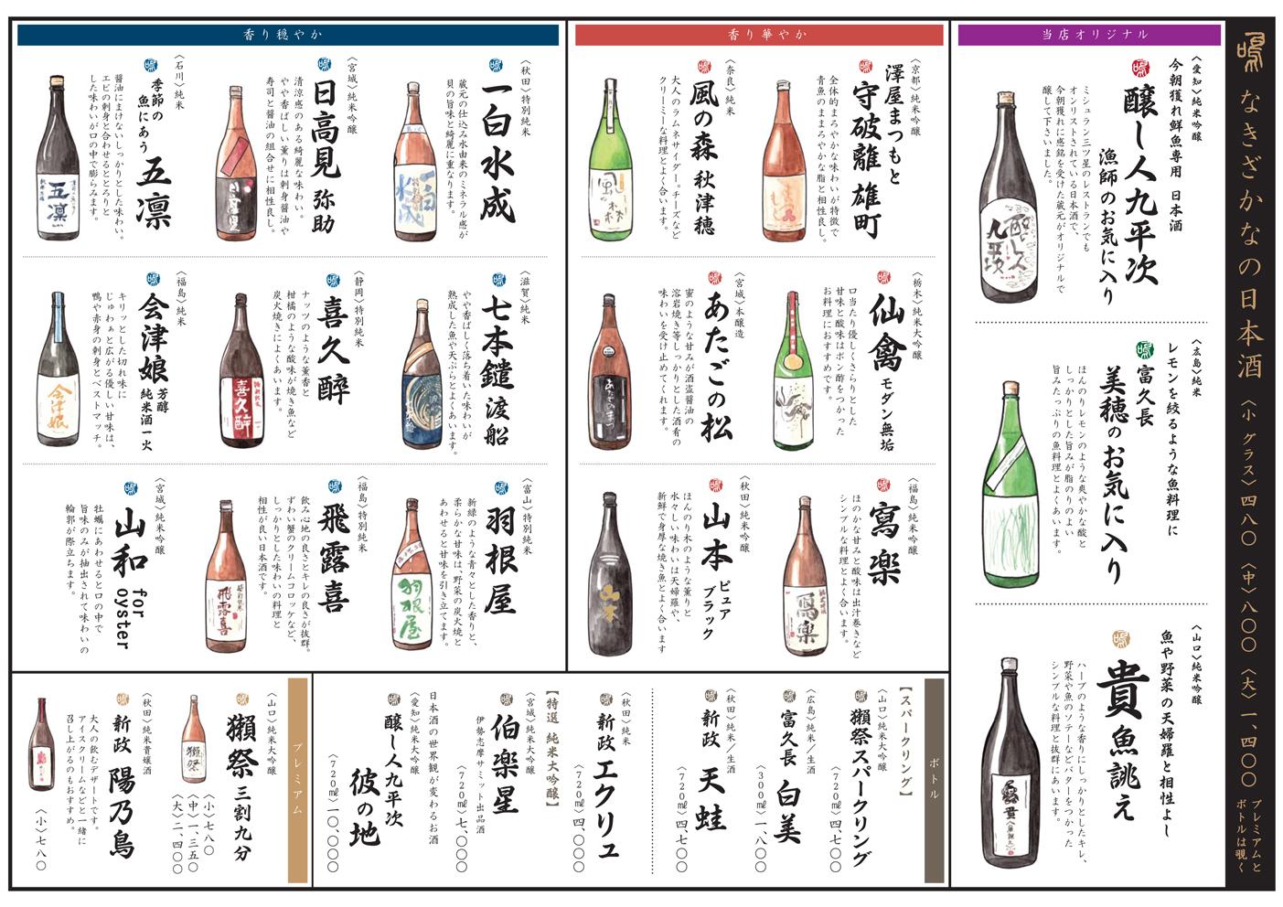 「なきざかな(@神楽坂)」 日本酒メニューイラスト